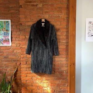 Herringbone and Faux Fur Coat